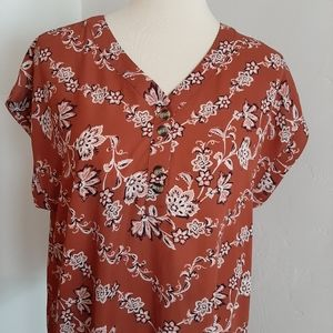 MAURICES XL ORANGE FLORAL TANK